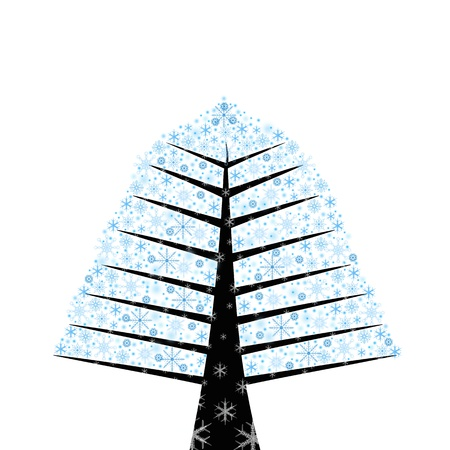 Abstract winter tree with beautiful snow flakes Vector