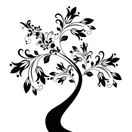 Beautiful abstract art tree and floral on white background Vector