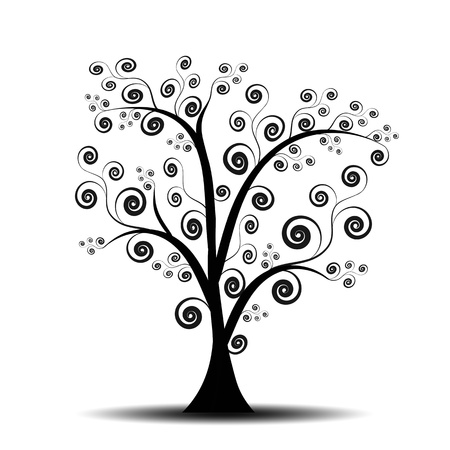 Beautiful abstract art tree on white background photo