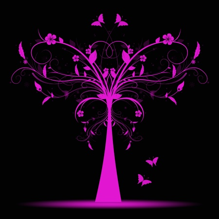 purple butterfly: Beautiful and abstract art tree and butterfly  Stock Photo