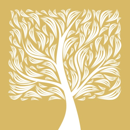 Beautiful art tree isolated on yellow background