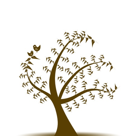 Abstract art tree and birds isolated on white background Vector