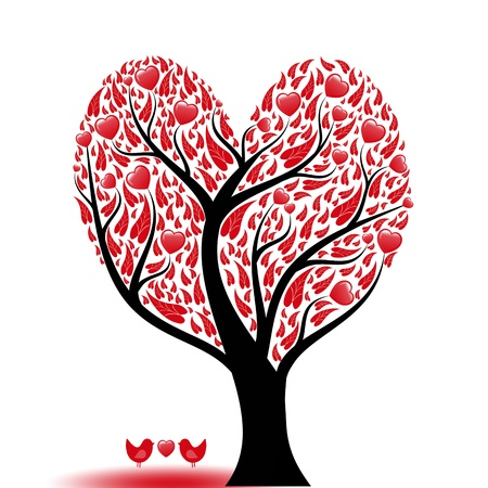 Beautiful abstract love tree with hearts and birds Vector