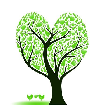 Prachtige abstracte liefde boom met hartjes en vogels