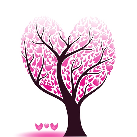 Beautiful abstract love tree with hearts and birds Stock Vector - 9813081