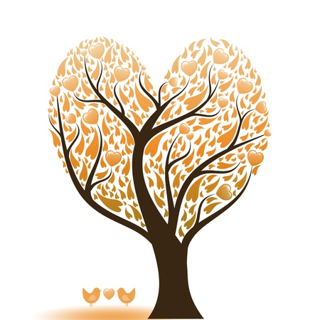 Beautiful abstract love tree with hearts and birds Stock Vector - 9813090