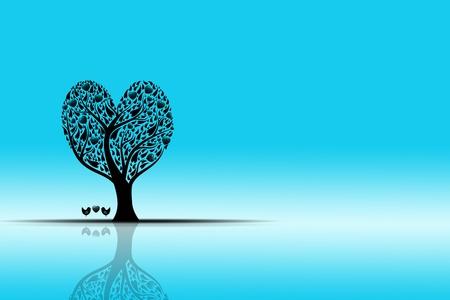 reflexion: Hermoso paisaje con árbol de arte y reflexión
