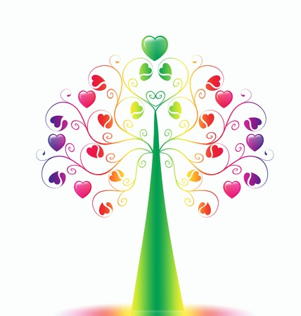 Colorful  Valentine's Tree isolated on white background Stock Photo - 9813200