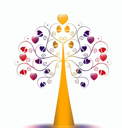 Colorful  Valentine's Tree isolated on white background Stock Vector - 9813244