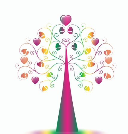 Colorful  Valentine's Tree isolated on white background Stock Vector - 9813247