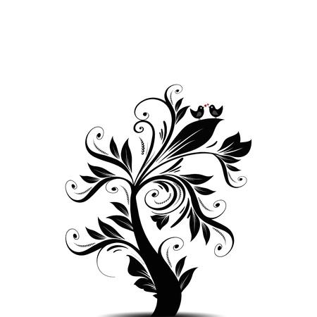 oiseau dessin: Le bel arbre art abstrait avec des coeurs et des oiseaux