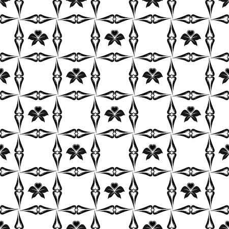 Beautiful seamless pattern of floral and hearts Vector