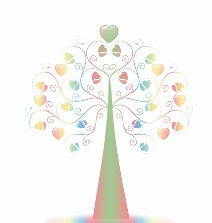 Colorful  Valentine�s Tree isolated on white background Stock Vector - 9813320