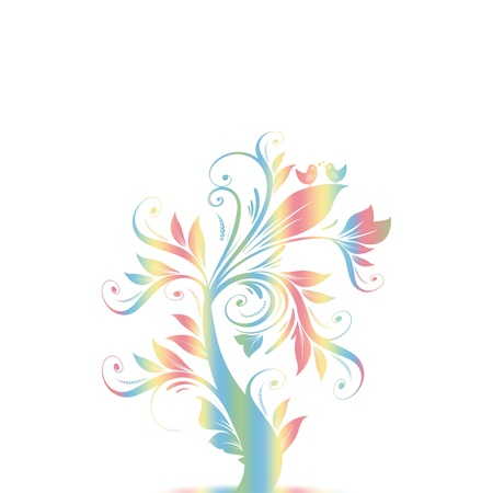 Colorful abstract art tree with hearts and birds  Vector