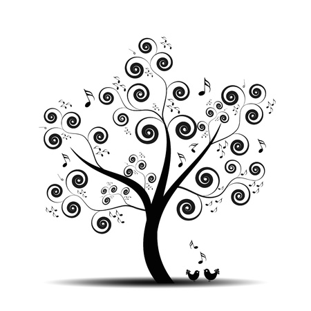 Abstract art tree with music notes and lovely birds Vector