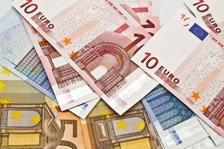 Background of different euro currency closeup photo