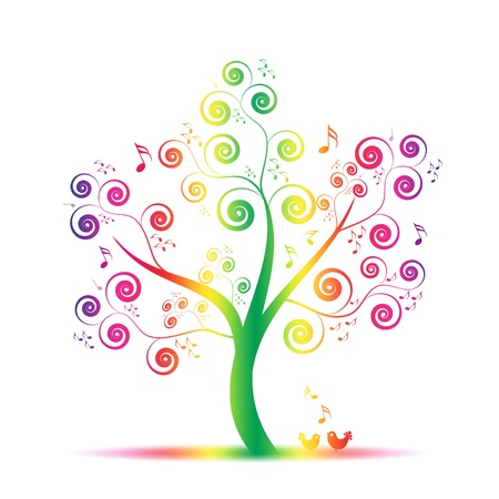 Abstract art tree with music notes and lovely birds Stock Vector - 9933426