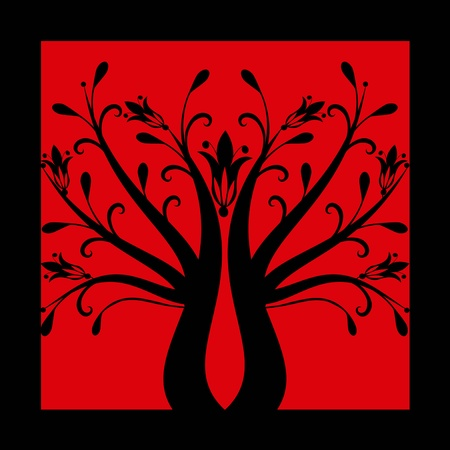Abstract art tree on black background Vector