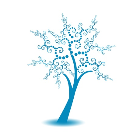 Beautiful art tree with polka dots isolated on white background Stock Vector - 10025873