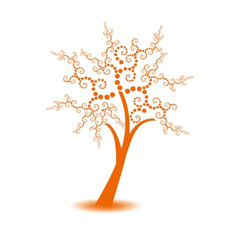Beautiful art tree with polka dots isolated on white background Vector