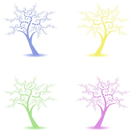 Beautiful art trees collections isolated on white background Stock Vector - 10025911