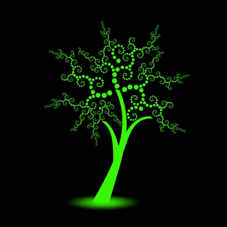 green life: Beautiful art trees with polka dots isolated on black background Illustration