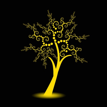 art painting: Beautiful art trees with polka dots isolated on black background Illustration