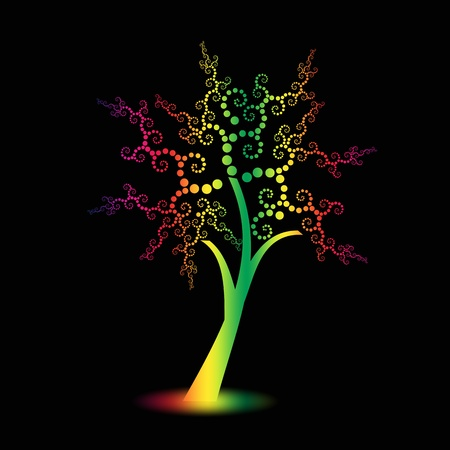 Colorful art trees with polka dots isolated on black background Vector