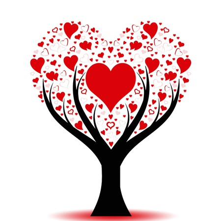 red trees: Beautiful love tree with hearts pattern