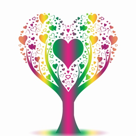 Colorful art tree on white background Stock Vector - 10025860