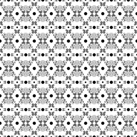 Background of seamless floral and polka dots pattern Stock Vector - 10025928