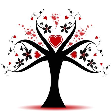 Árbol hermoso San Valentín con patrón de corazones  Foto de archivo - 10025969