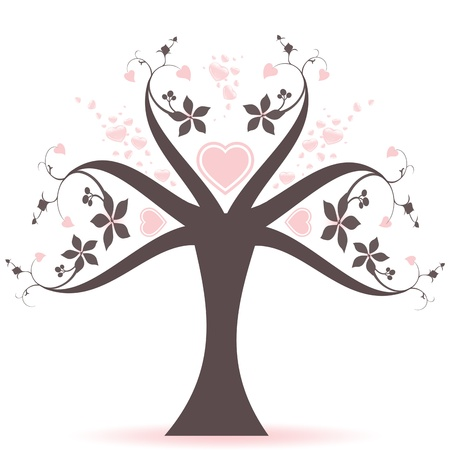 Beautiful valentine tree with hearts pattern Stock Vector - 10025939