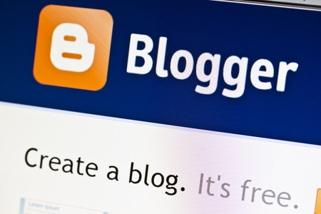 Ostersund, Sweden - July 24, 2011: Close up of Bloggers main page on a web browser. Blogger was the first blog service provider on the web.