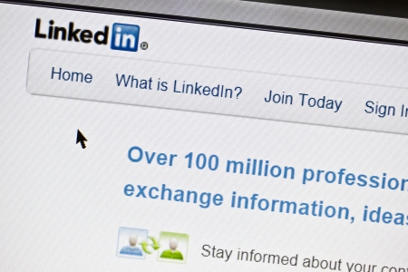 Ostersund, Sweden - July 24, 2011: Close up of Linkedins main page on a web browser. Linkedin is a business oriented social networking site.