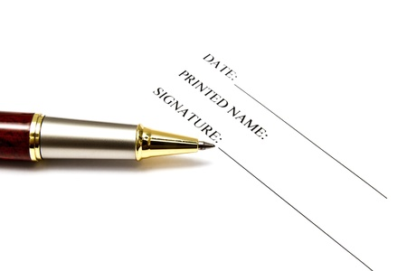 Pen isolated on a blank signature paper Stock Photo - 10026005