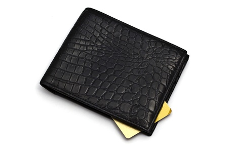 Black wallet with Credit card isolated on white background Stock Photo - 10026104