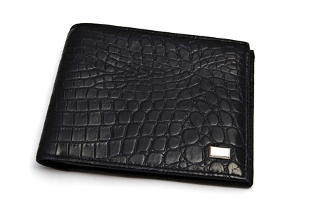 Fashion black wallet closeup on white background
