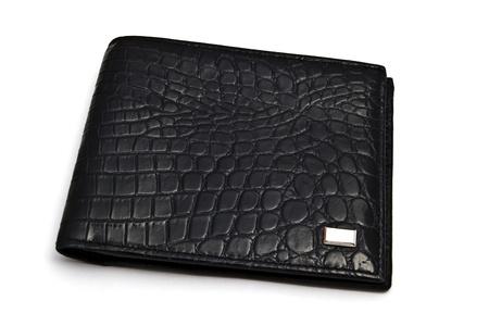 Fashion black wallet closeup on white background Stock Photo - 10026110