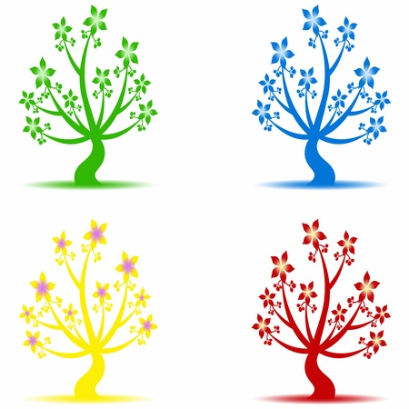 Beautiful art trees coloection on white background Vector