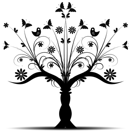 Beautiful art tree with bird and butterfly on white background