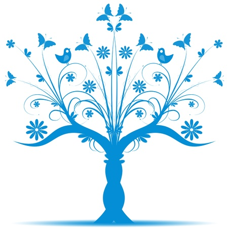 tree trunks: Beautiful art tree with bird and butterfly on white background