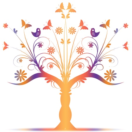 Colorful art tree with birds and butterfly on white background Vector