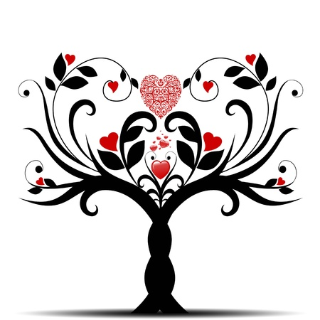 Beautiful valentine tree with hearts pattern on white background  Vector