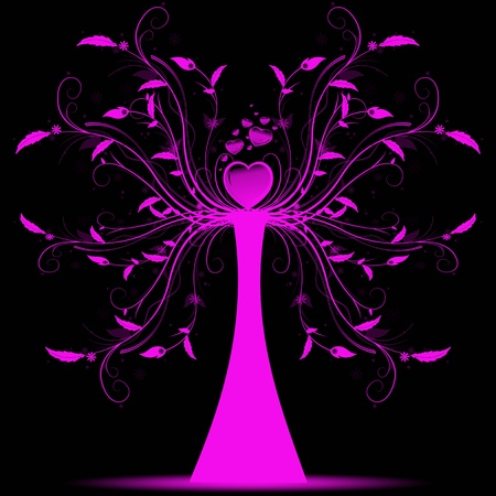 Beautiful abstract art tree on black background Vector