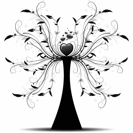 Beautiful abstract art tree on white background Vector