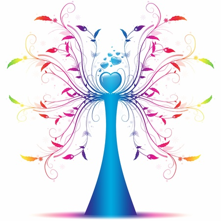 green life: Beautiful abstract art tree on white background Illustration
