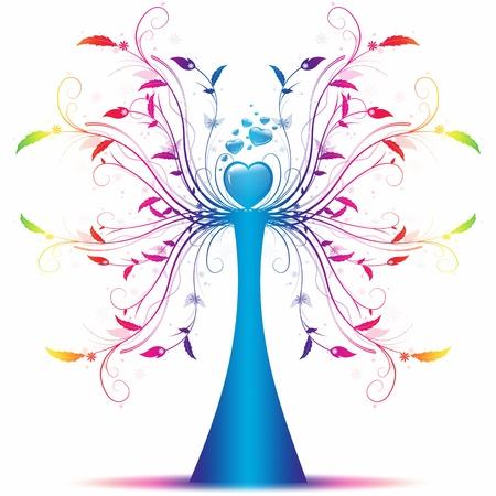 arbol de la vida: Hermoso �rbol de arte abstracto sobre fondo blanco