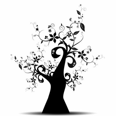 Le bel arbre art abstrait isolé sur fond blanc Banque d'images - 10182466