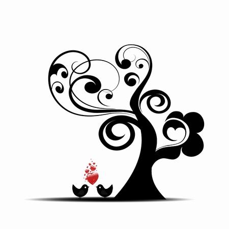 bomen zwart wit: Mooie kunst boom en vogels geïsoleerd op witte achtergrond